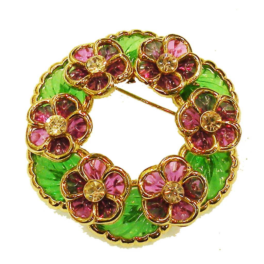 Stunning Green Leaf and Purple Floral Molded Stone Brooch