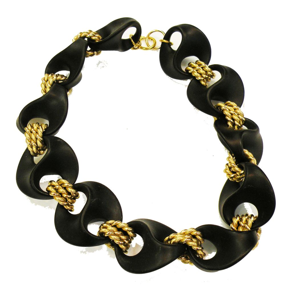 Vintage Matte Black Waving Lucite Morphic Shapes with Triple Gold-tone Link Modernist Necklace