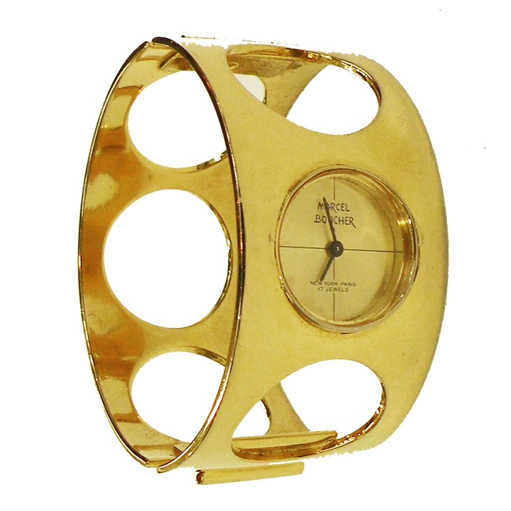 MARCEL BOUCHER Modernist Space Age Gold Tone Watch Hinged Clamper Cuff Bracelet