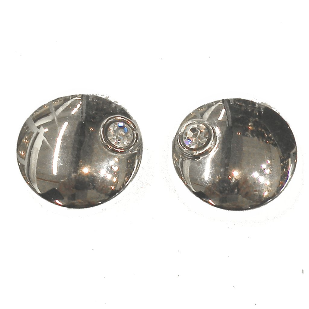 Ugo Correani Space Age Silver Tone Metal Button Earrings with Asymmetrically Placed Rhinestone