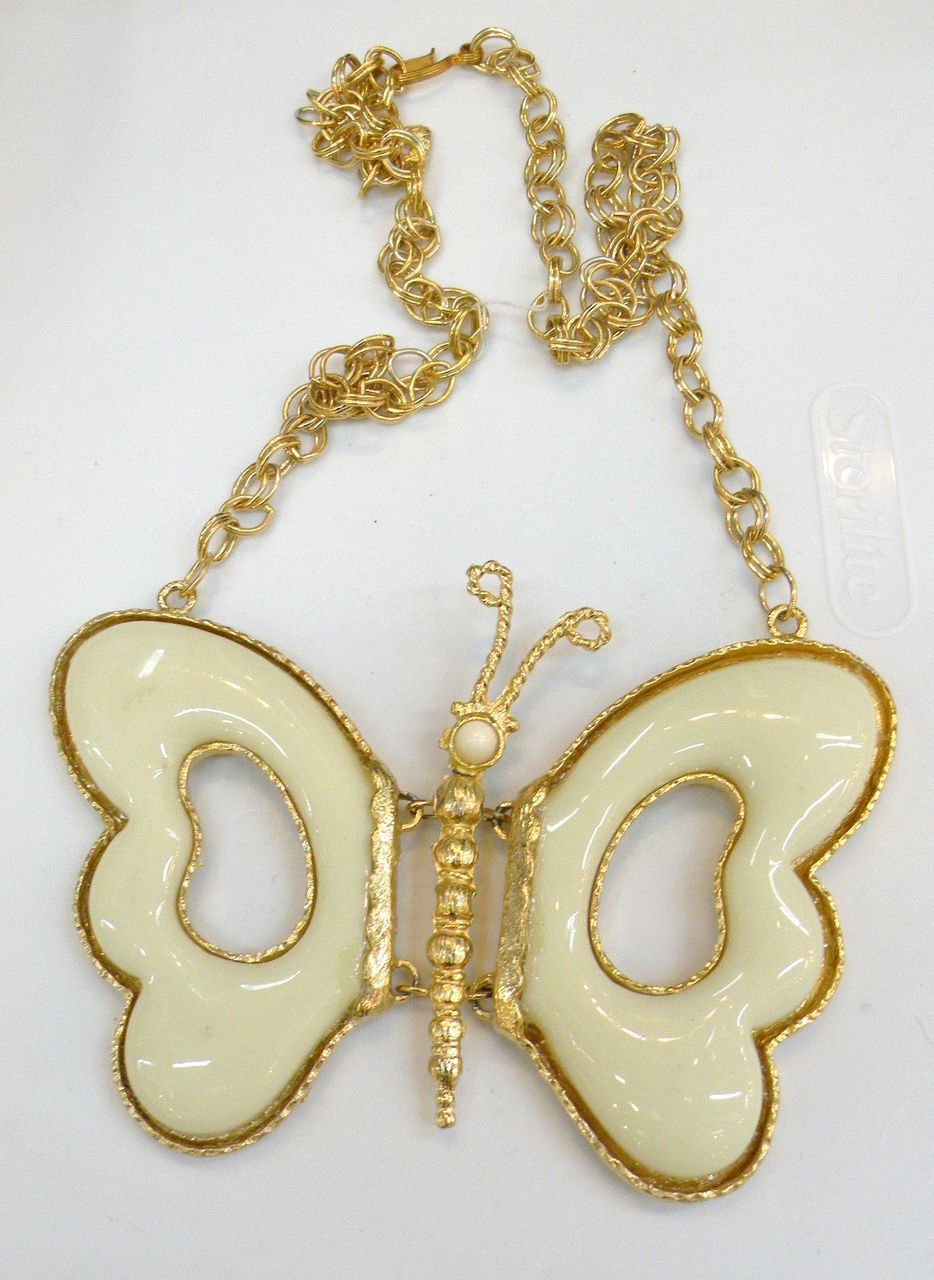 Giant Cream Colored Resin Butterfly Pendant Necklace