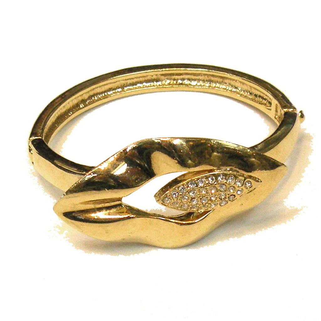 Gold Tone Metal and Pave Rhinestone Tulip Like Hinged Clamper Cuff Bracelet