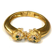 Green Rhinestone Eyed Monkey Head Hinged Clamper Cuff Bracelet