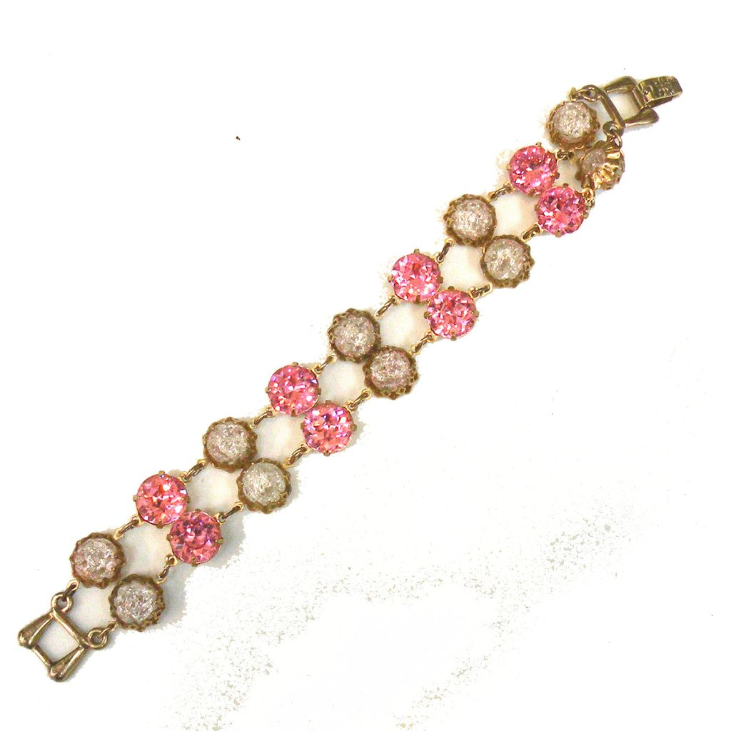 Rose Chaton and Frosted Rhinestone Double Strand Link Bracelet