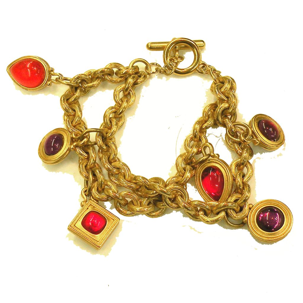 Double Strand Double Sided Red and Purple Rhinestone Monet Charm Bracelet