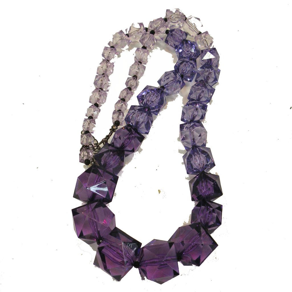 Lilac to Purple Faceted Variegated Lucite Bead Long Necklace