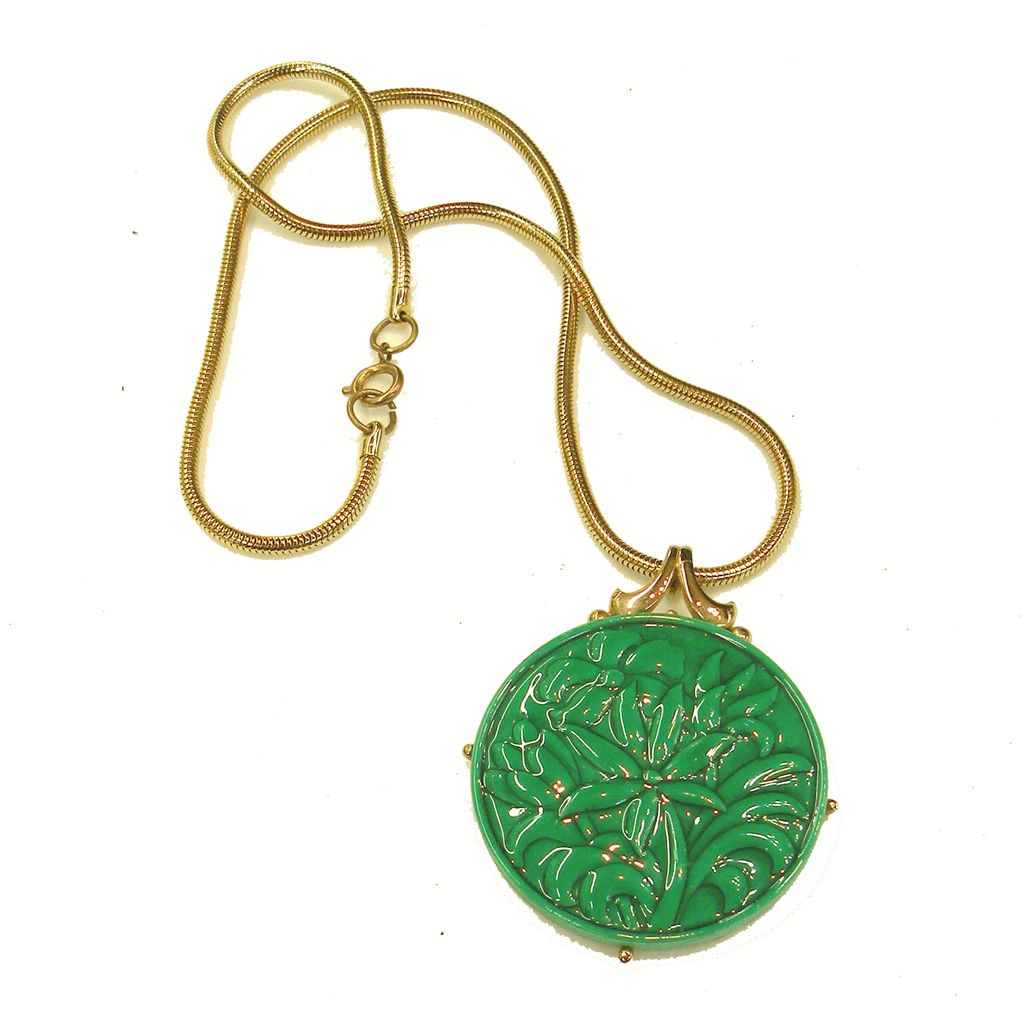 Emerald Colored Ceramic Glazed Reversible Porcelain and Gold Tone Metal Pendant Necklace