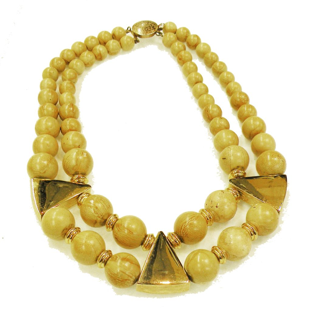 Double Strand Blonde Wood Color Beaded Necklace with Gold Tone Triangular Details and Spacers