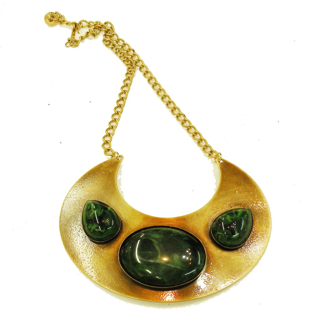 Crescent Shape Pendant Necklace with Deep Green Cabochons