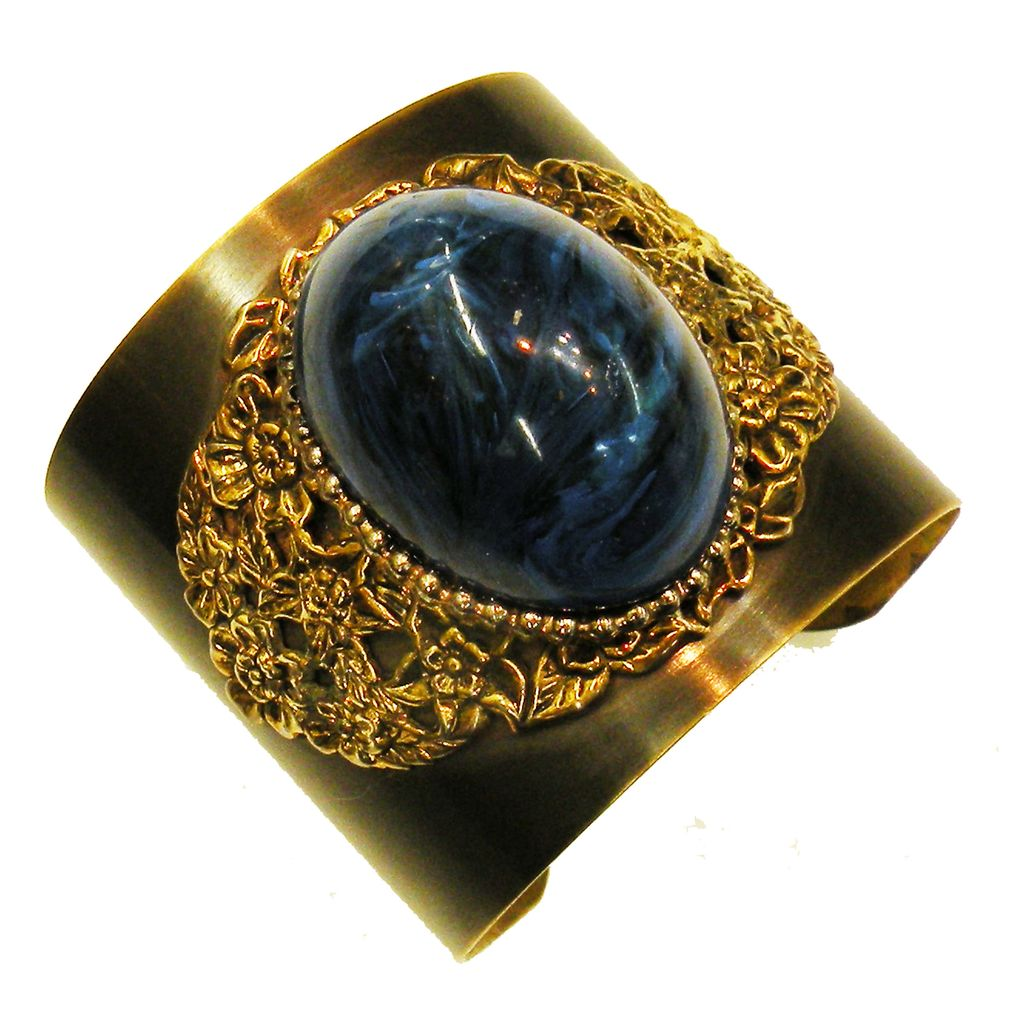 High Domed Teal Blue Cabochon Brass Cuff Bracelet with Filigree Detailing