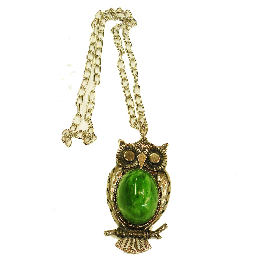 Adorable Green High Domed Cabochon Bellied Owl Pendant Necklace