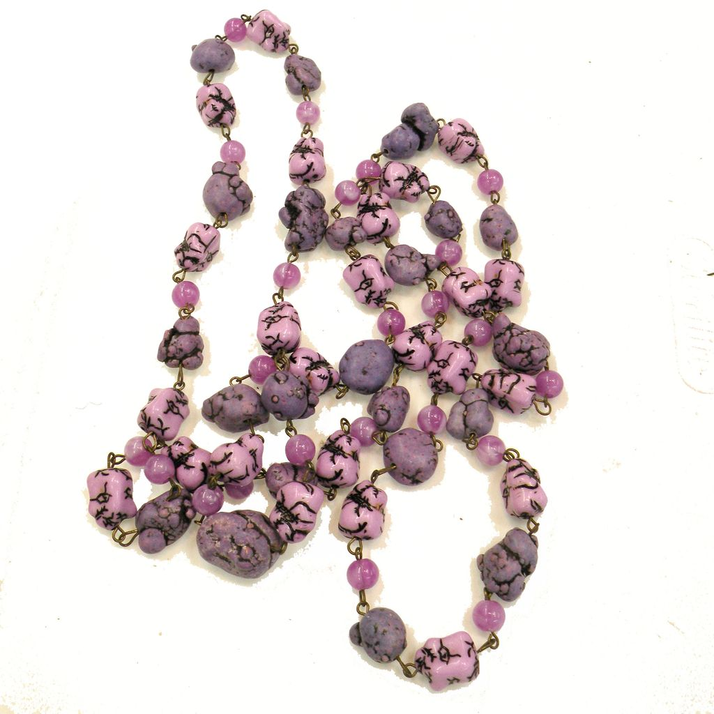 Shades of Funky Purple Beads Long Glass Sautoir Necklace