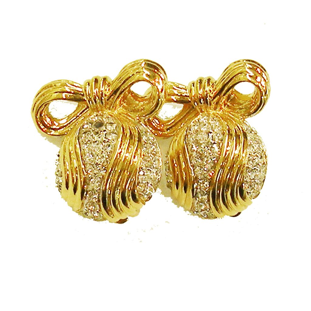 NINA RICCI Bowed Rhinestone Wave Ball Earrings