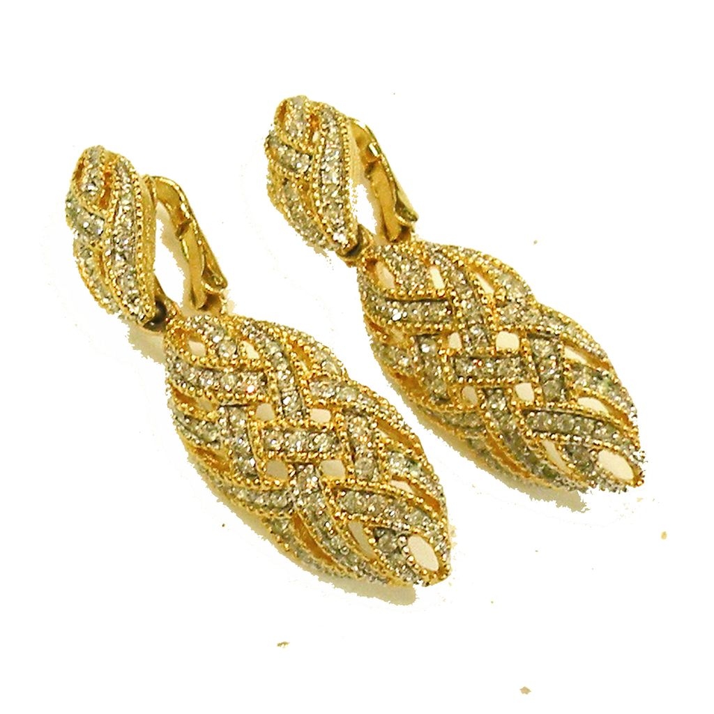 BOUCHER Flaming Rhinestone Woven Ribbon Effect Drop Earrings