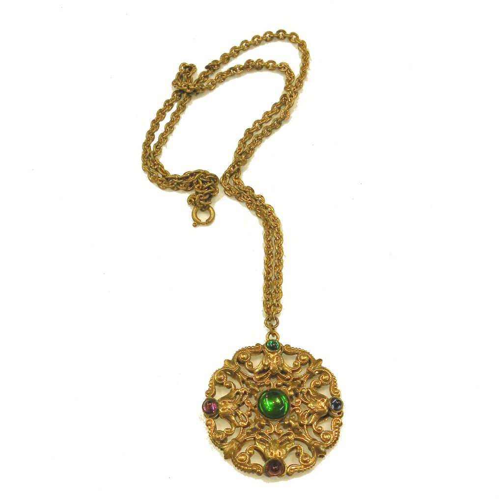 Unusual Dimensional Double Sided Filigree Victorian Pendant Necklace with Multi Color Cabochons