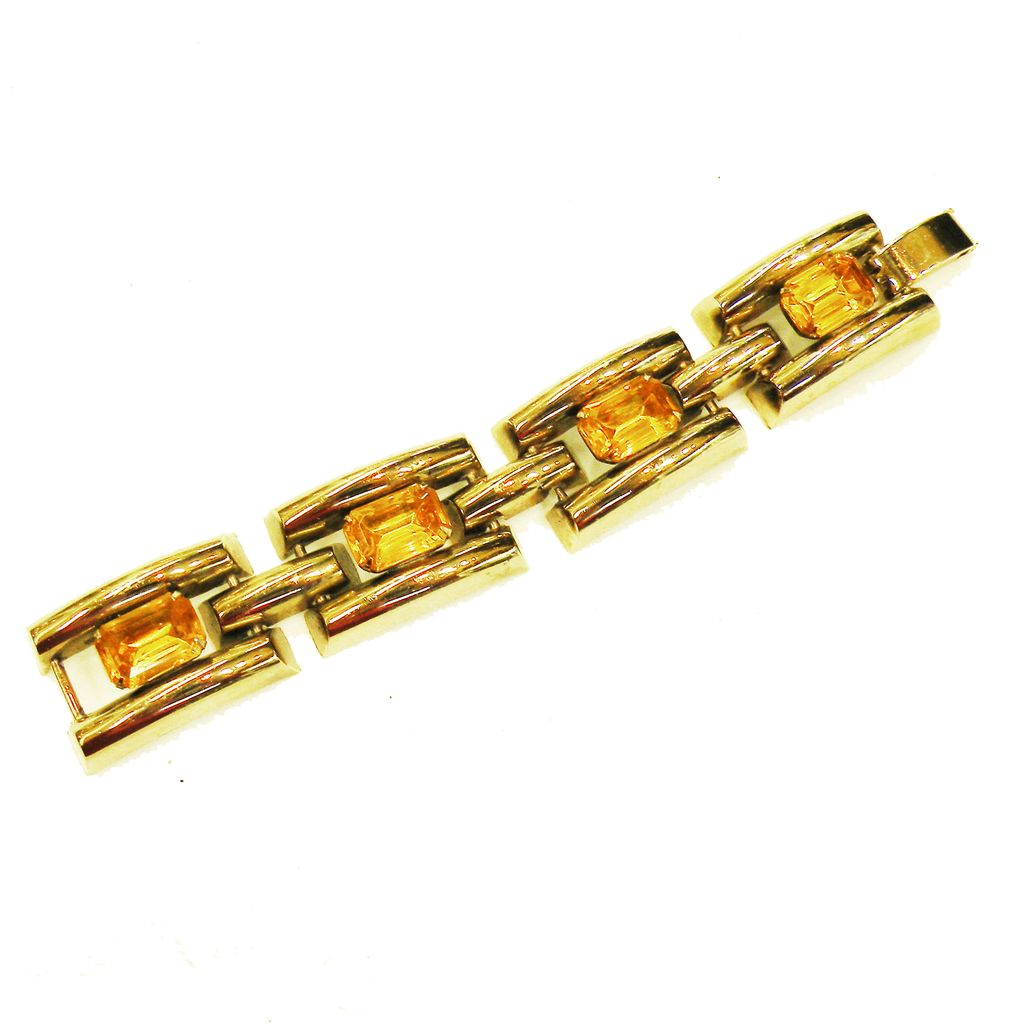 Nice Weighty Industrial Deco Link Bracelet with Amber Stones