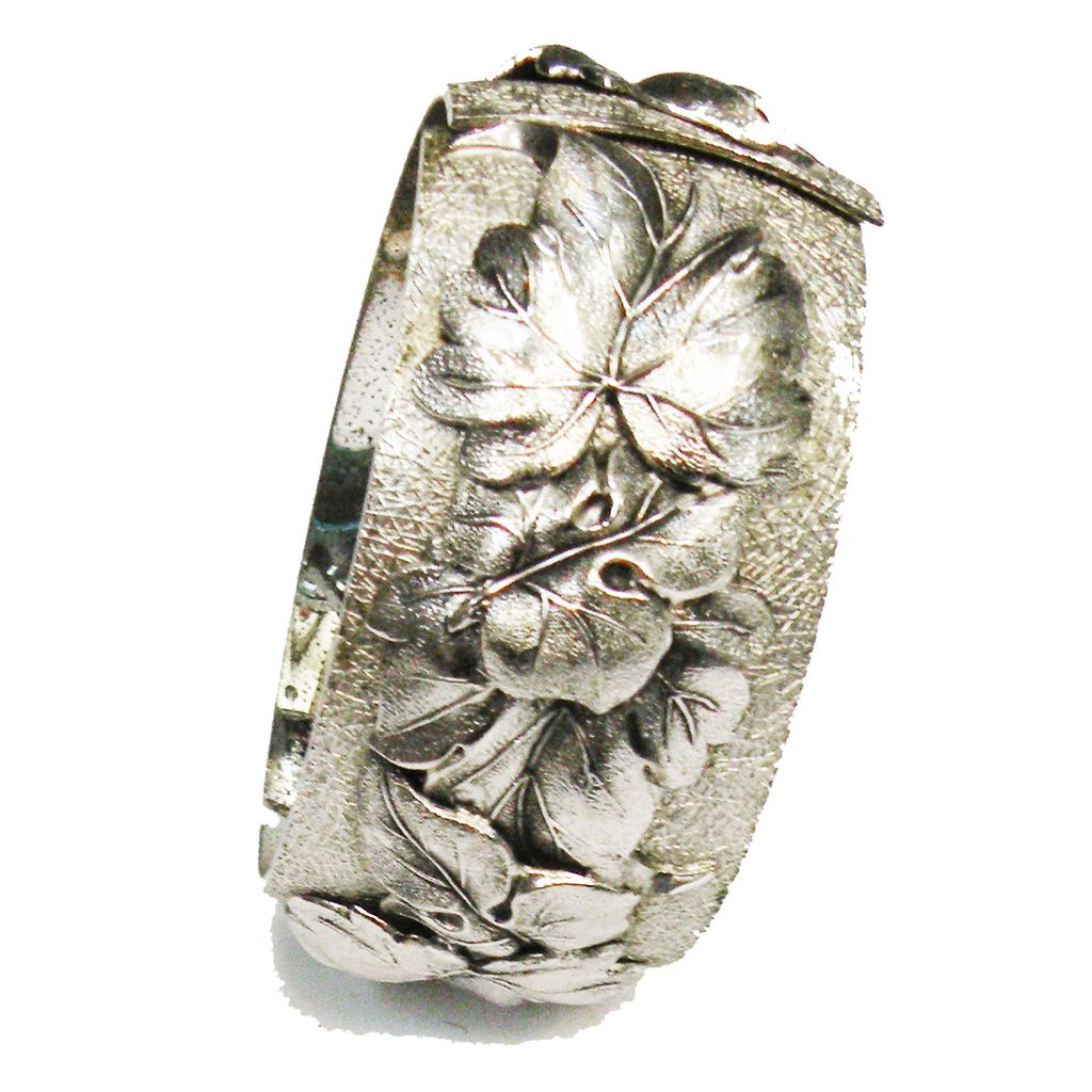 Silver Tone Metal Floral Repousee Hinged Clamper Cuff Bracelet