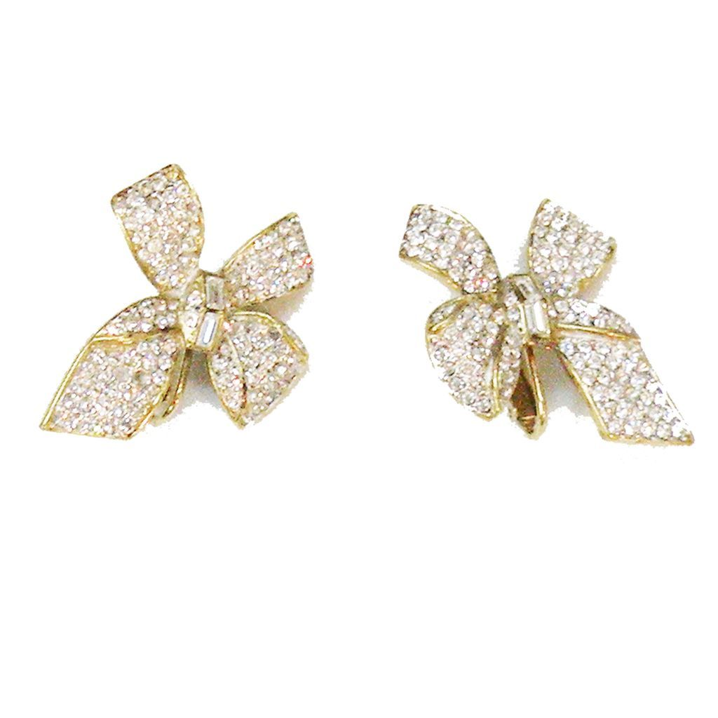 A & S Rhinestone Pave and Baguette Pretty Bow Earrings
