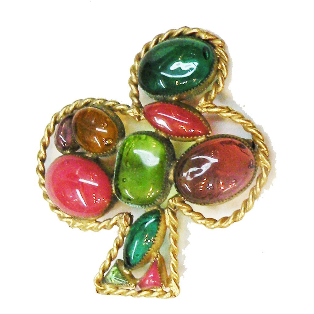 Rare HATTIE CARNEGIE Brightly Colored Poured Glass Three Leaf Clover Brooch