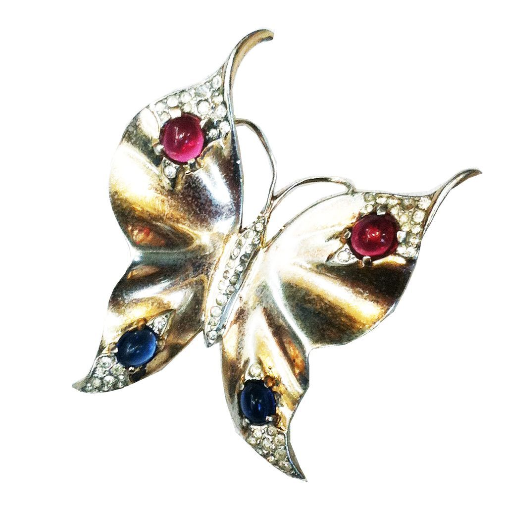 CROWN TRIFARI Sterling with Gold Wash Red and Blue Cabochoned Butterfly Brooch