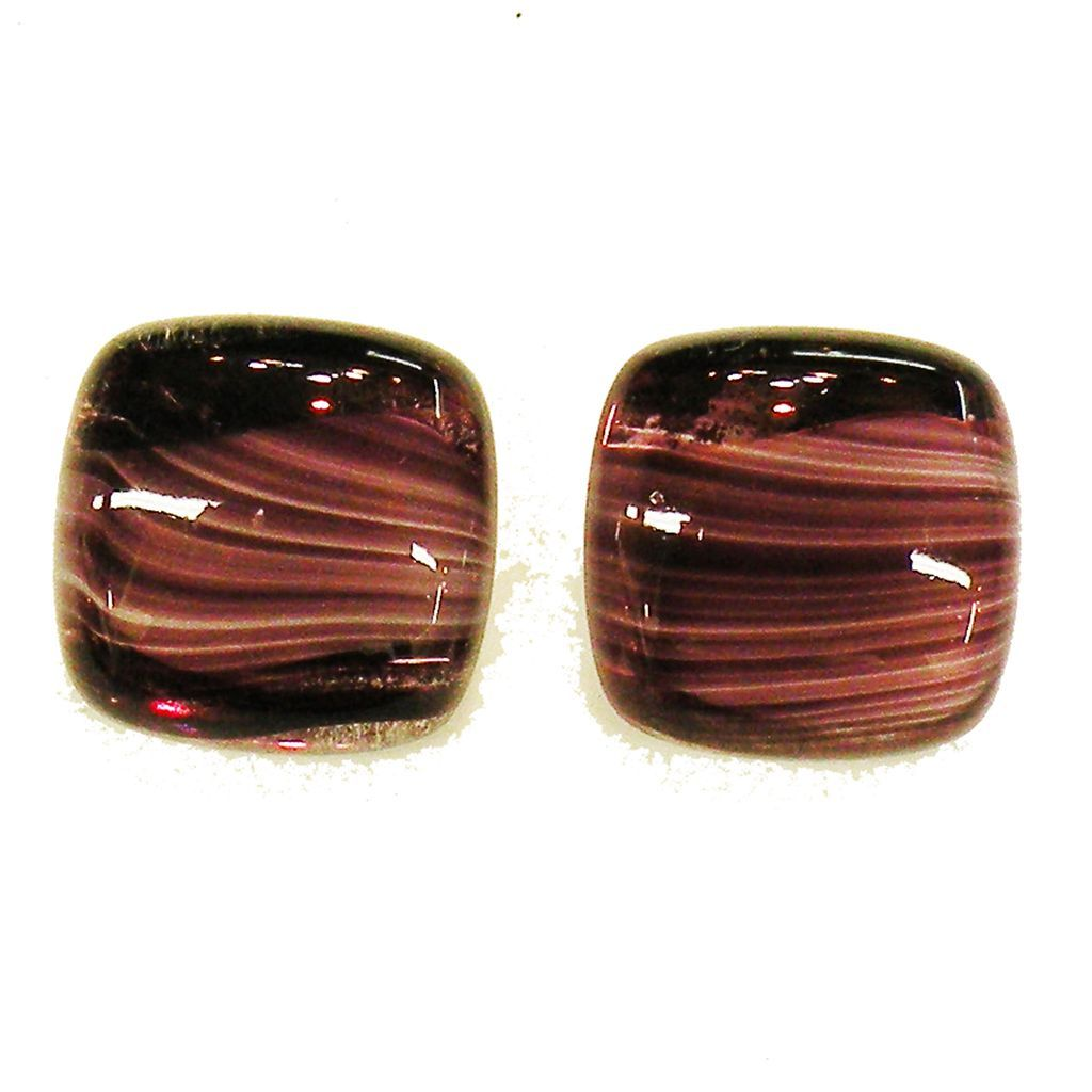 Square Cut Purple Flawed Straighted Glass Earrings
