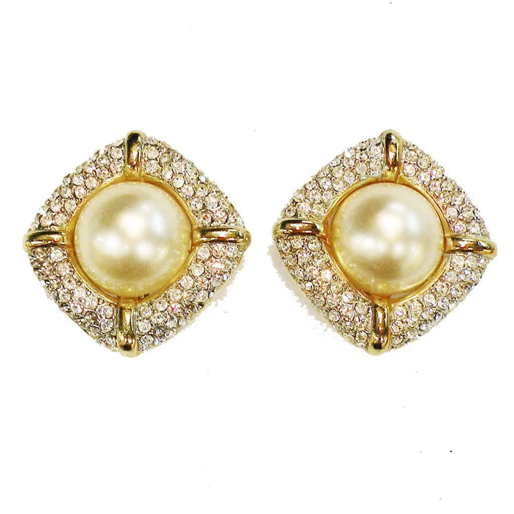 Sort of Square Rhinestone Edged Imitation High Domed Pearl Glamorous Earrings