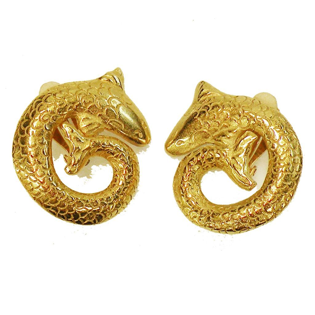 Vintage Diane Von Furstenberg Curled Scaled Fish Earrings