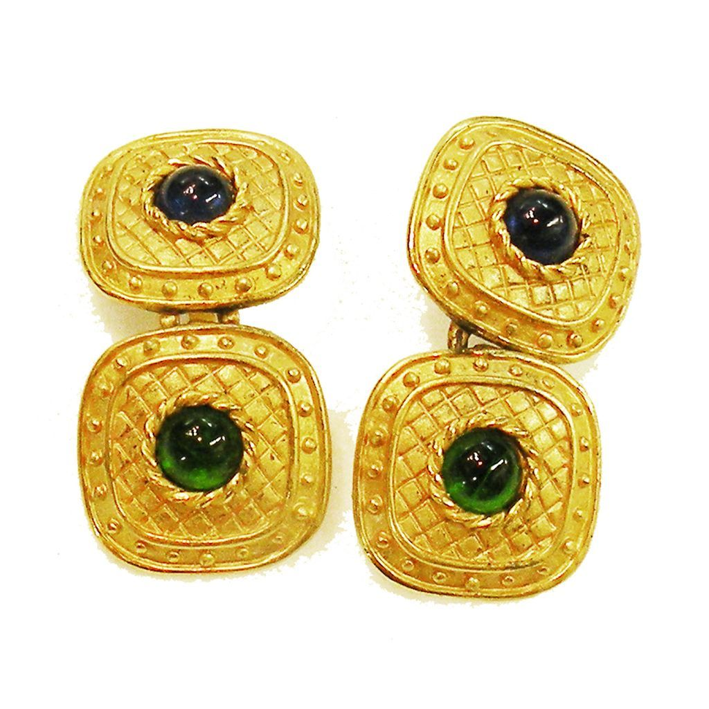 Etruscan Revival Matte Gold Tone Metal Double Drop Earrings with Blue and Green Cabochons