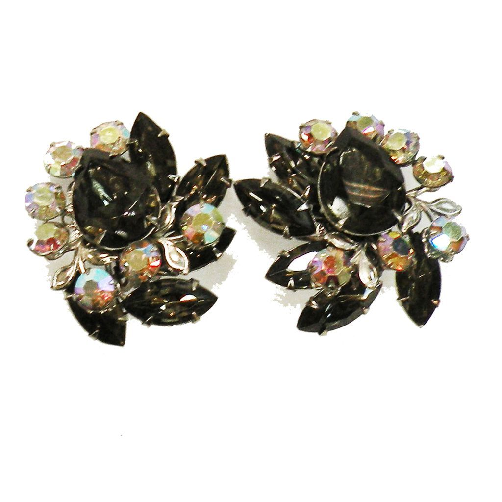 Black Diamond and Aurora Borealis Rhinestone Swedge Back Earrings