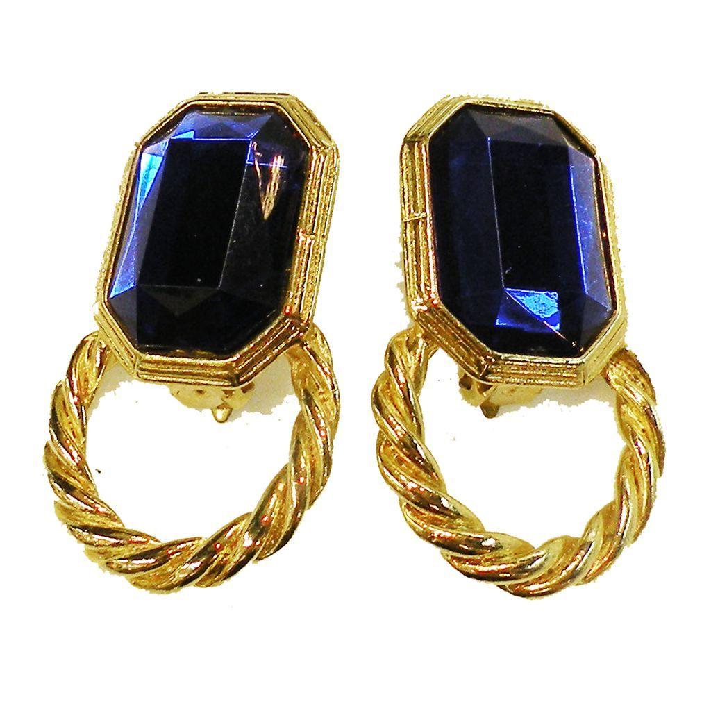 Deep Blue Octagonal Shaped Stone Door Knocker Earrings