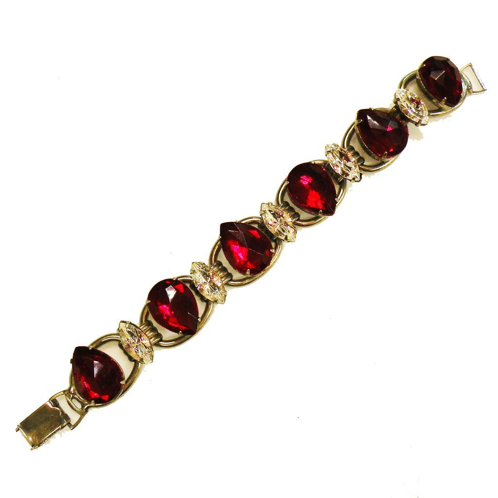 Rich Red Pear and Icy Clear Navette Rhinestone Six Link Bracelet