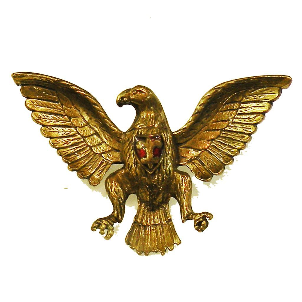 Spread Winged Eagle with Enameled Fleur de Lys Crest on Chest Brooch