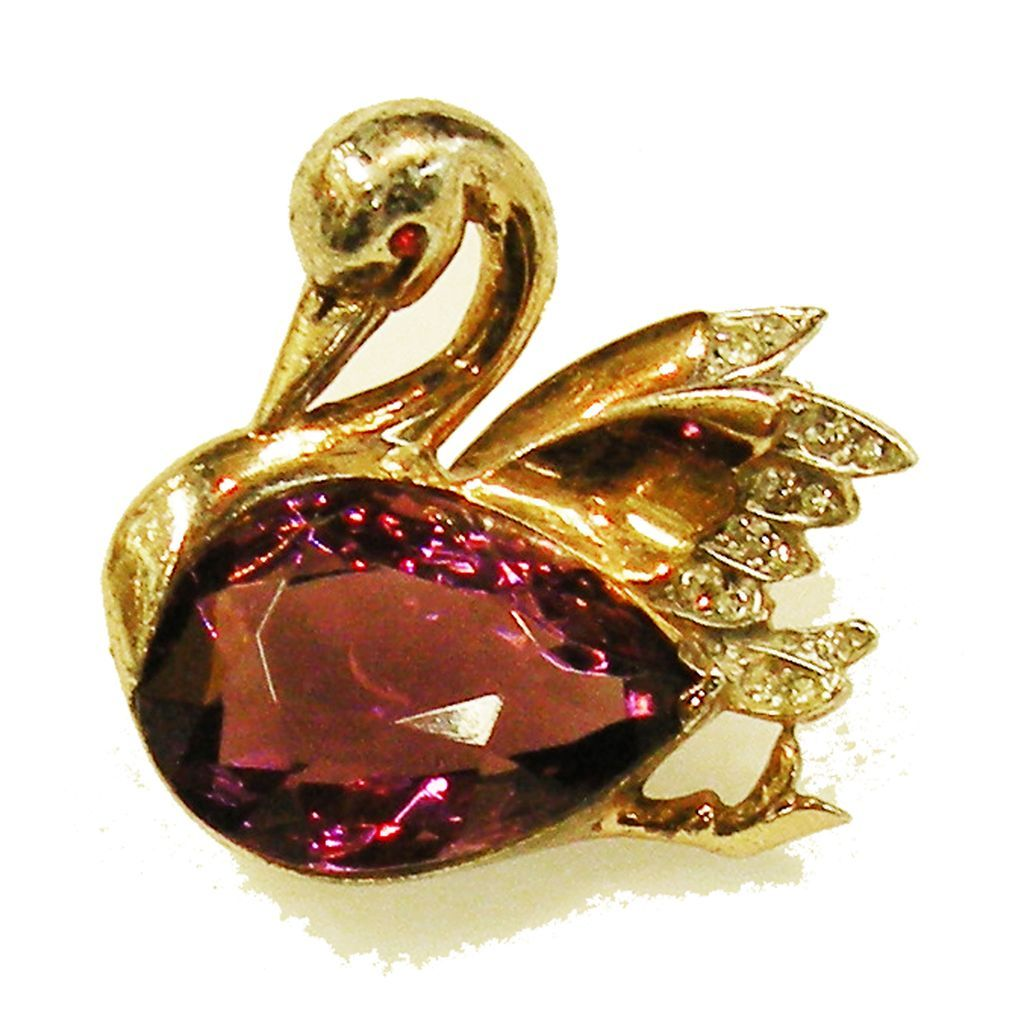 REJA Sterling Purple Bellied Swan Brooch
