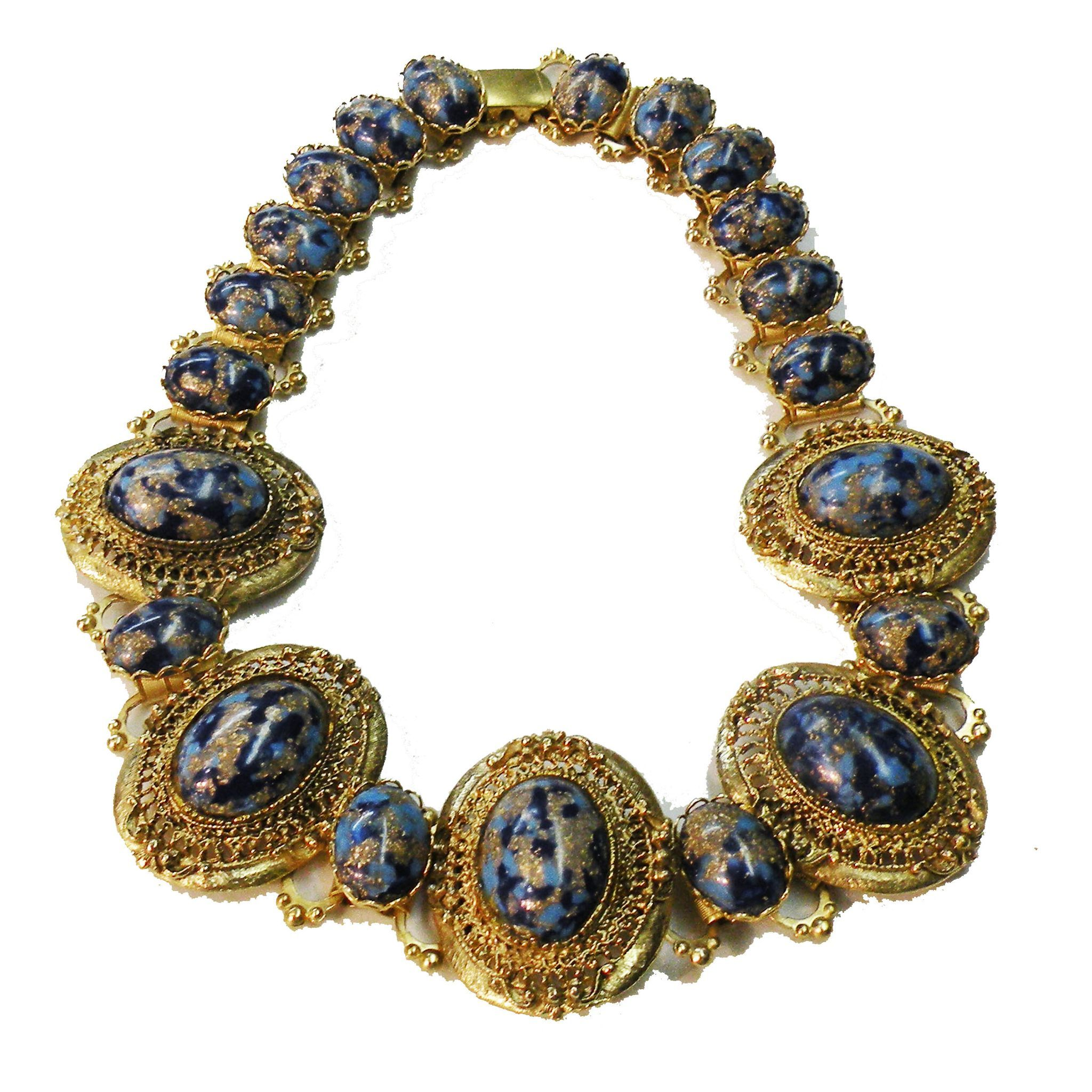 Renaissance Revival Shades of Medium and Dark Blue with Copper Foil Cabochon Gold Tone Book Chain Necklace