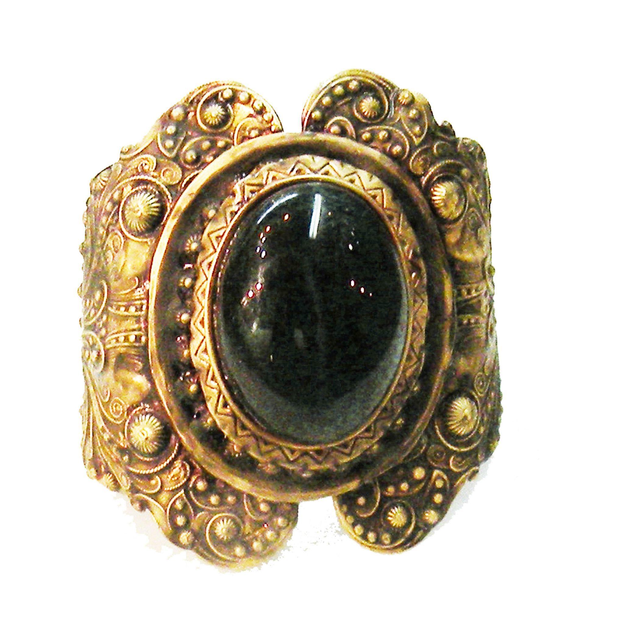 Rich Deep Green Giant Cabochon Repousee Renaissance Revival Cuff Bracelet