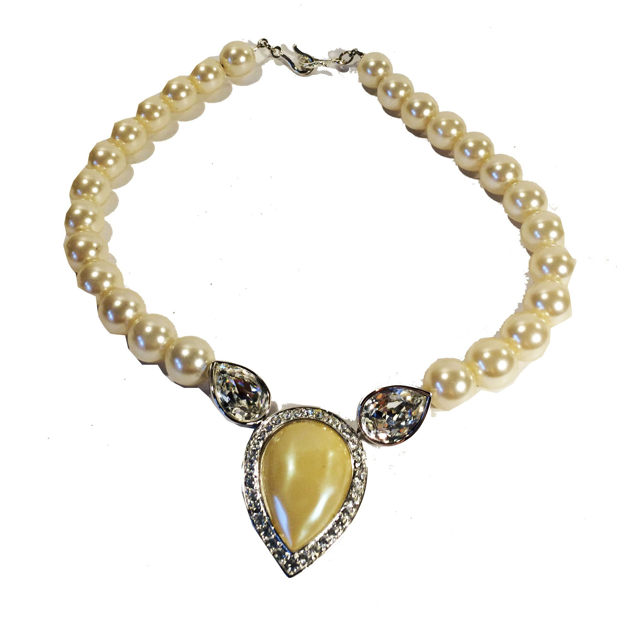 YSL Creamy Round and Baroque Pear Shape Imitation Pearl Necklace with Rhinestone Accents
