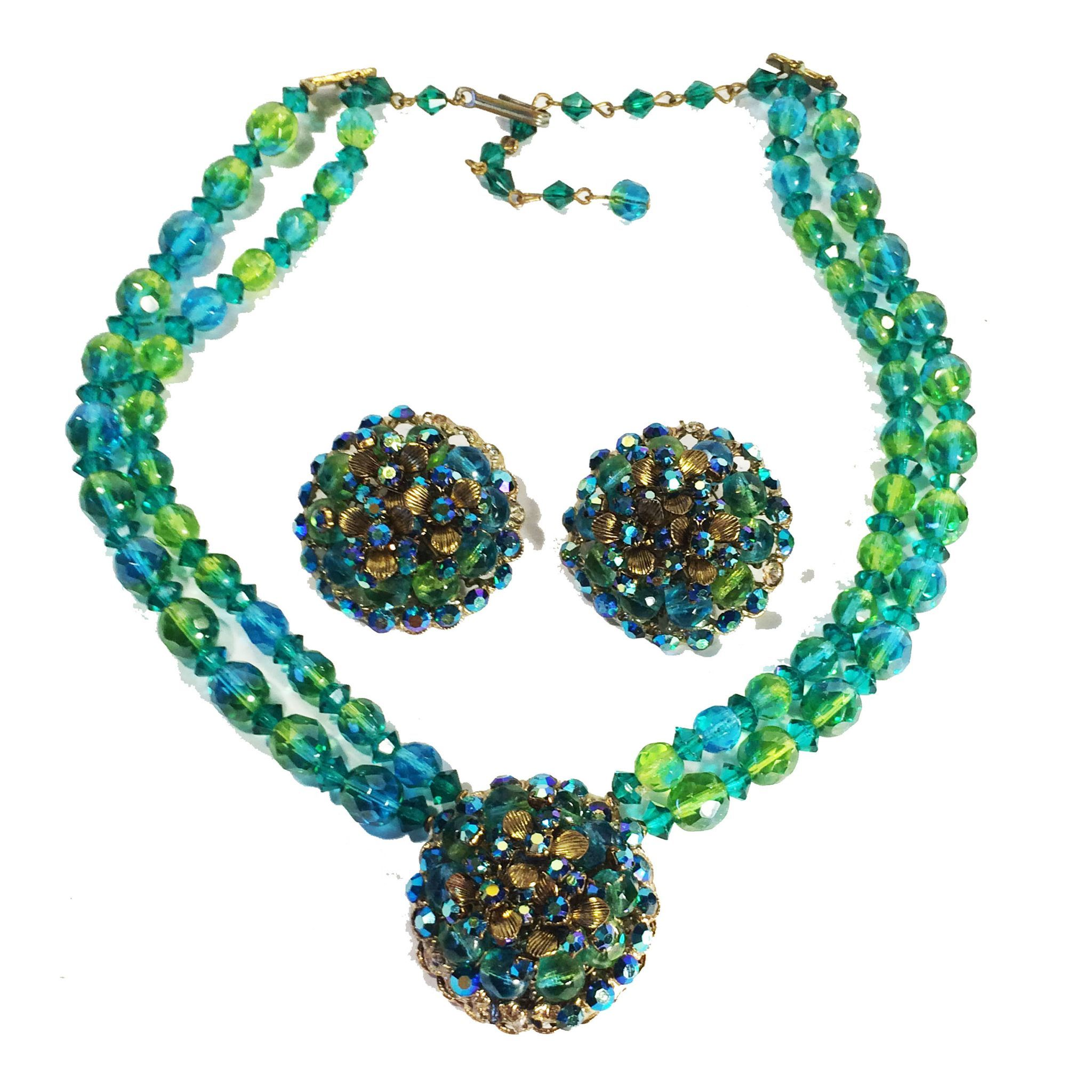 Turq/Aqua and Lime Bi-Colored Beaded Necklace with Center Flower Detail and Earrings