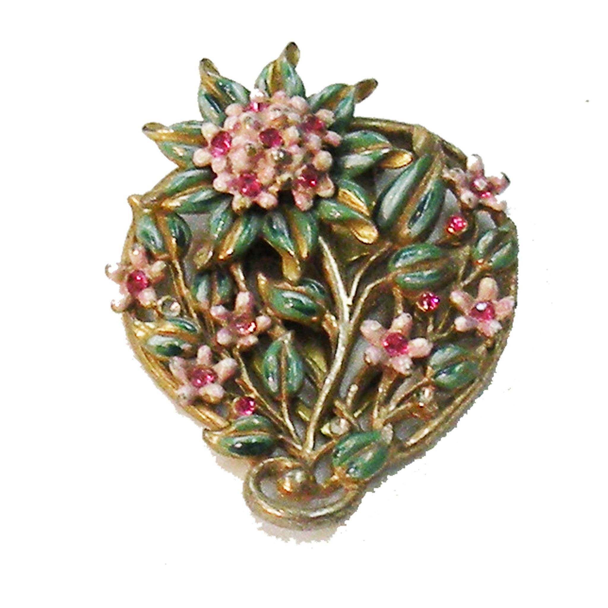 Early Enameled Flower and Leaf Dress Clip Brooch with Pink Rhinestones