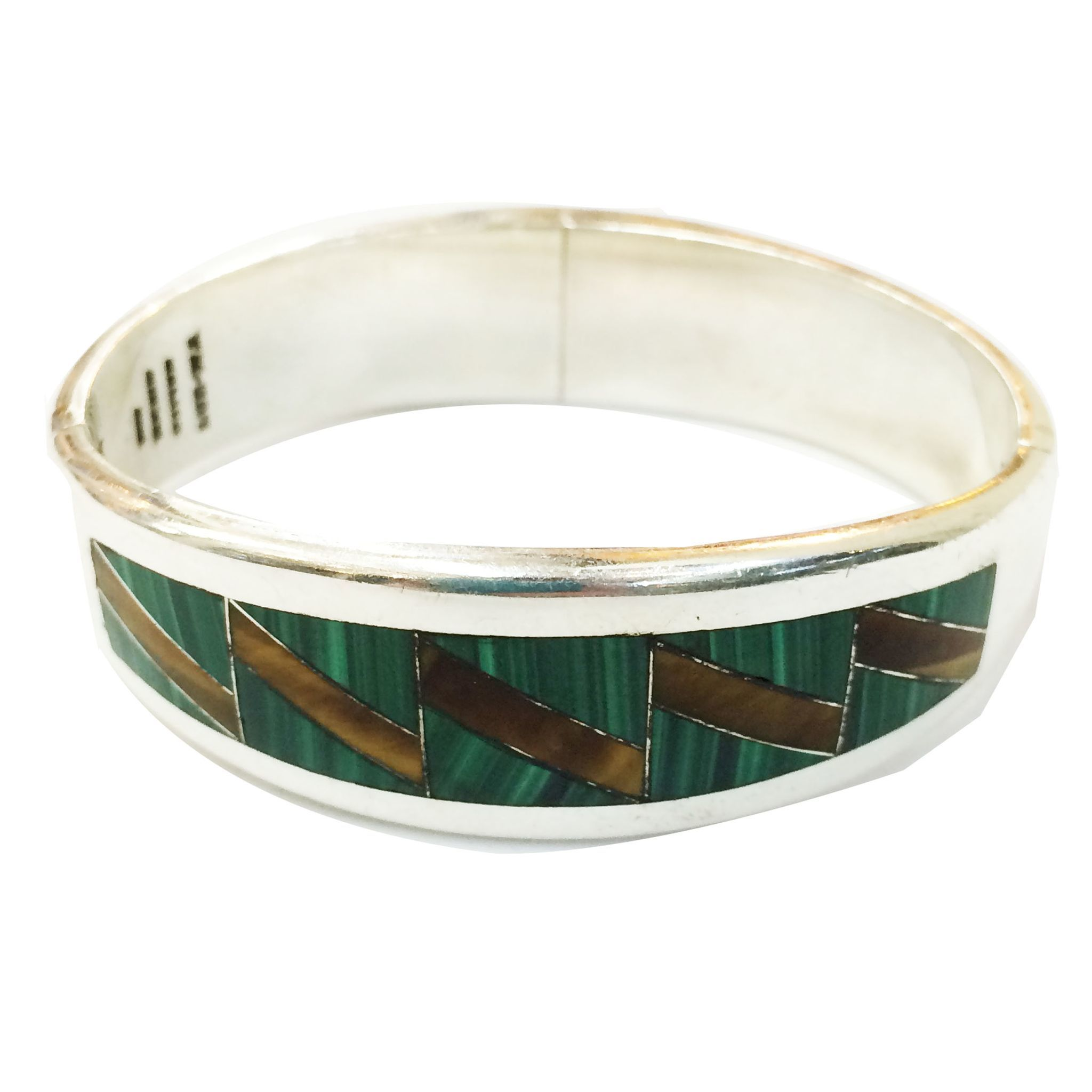 MEXICAN STERLING 950 Hinged Cuff Silver Bracelet with Malachite and Tigers Eye Inlay