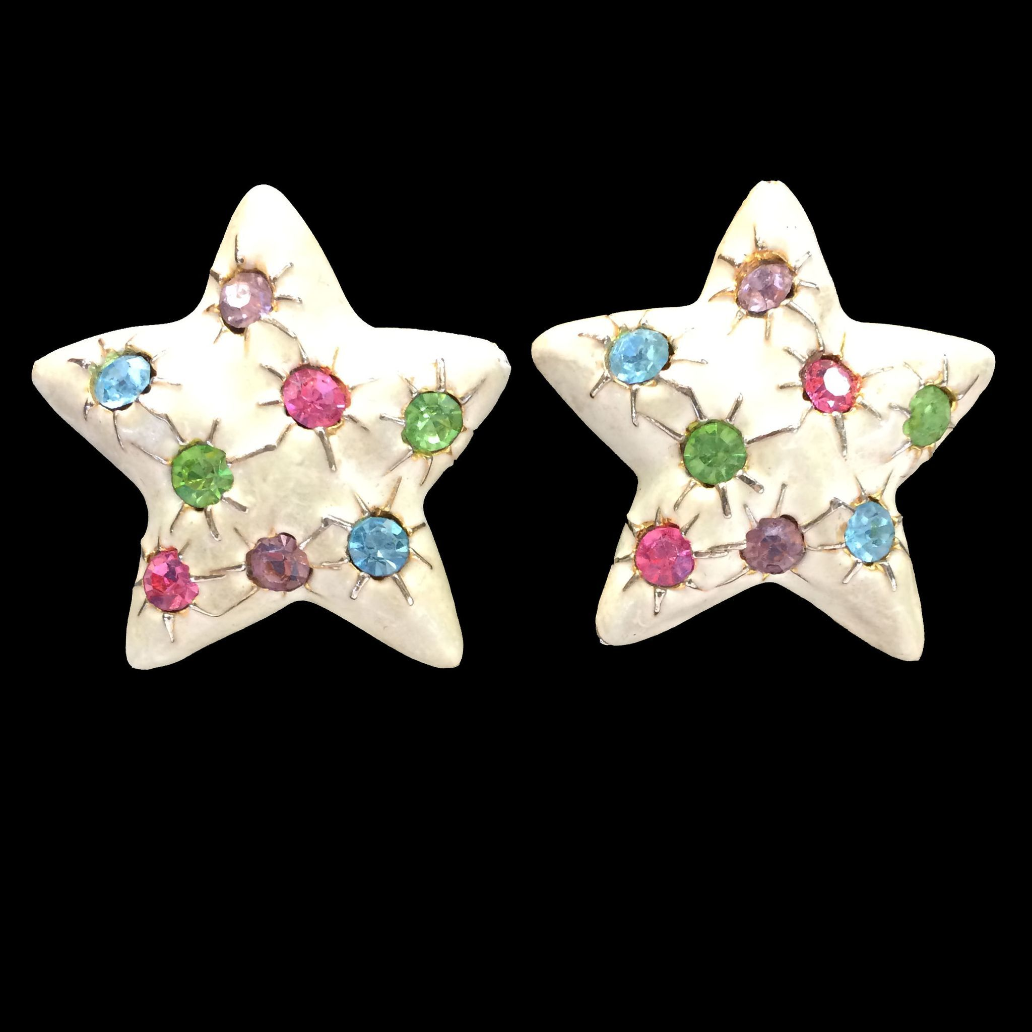 Cream Enamel Starfish Earrings with Multi Pastel Rhinestones