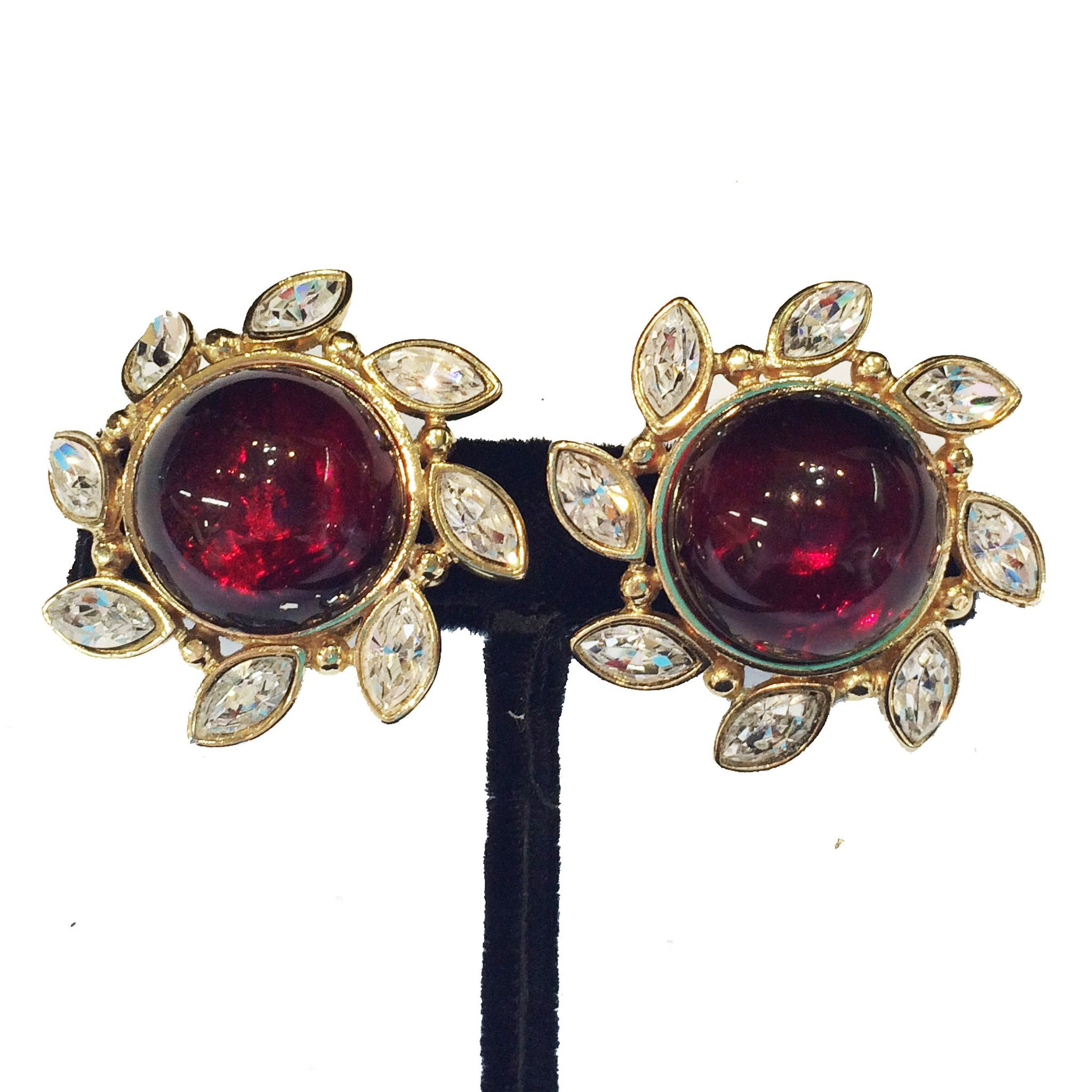MONET Lever Back Giant Red Cabochon Earrings with Clear Navette Frame