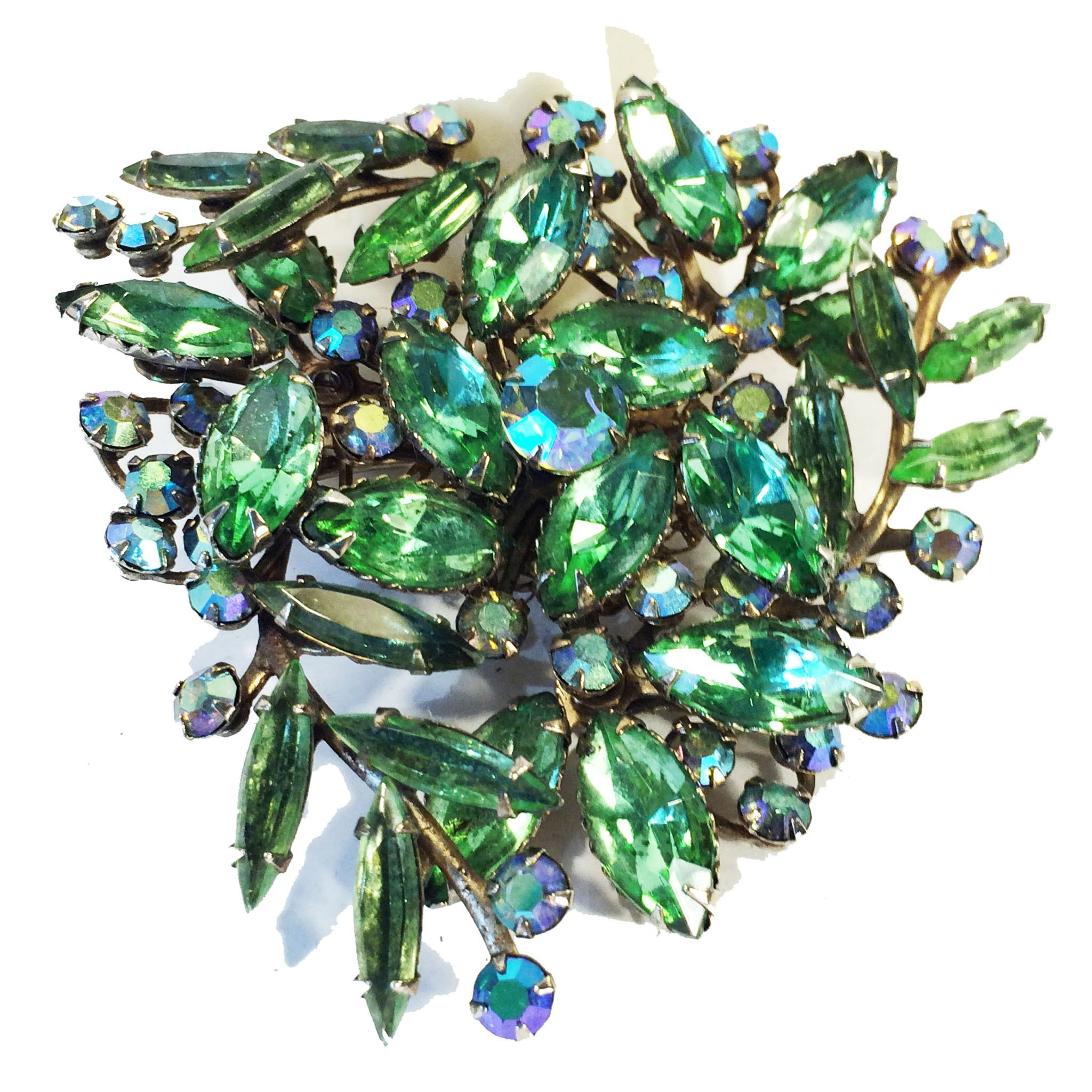 Peridot Color Rhinestone Thin and Thick Navettes with Aurora Borealis Accents Swedged Spray Floral Brooch