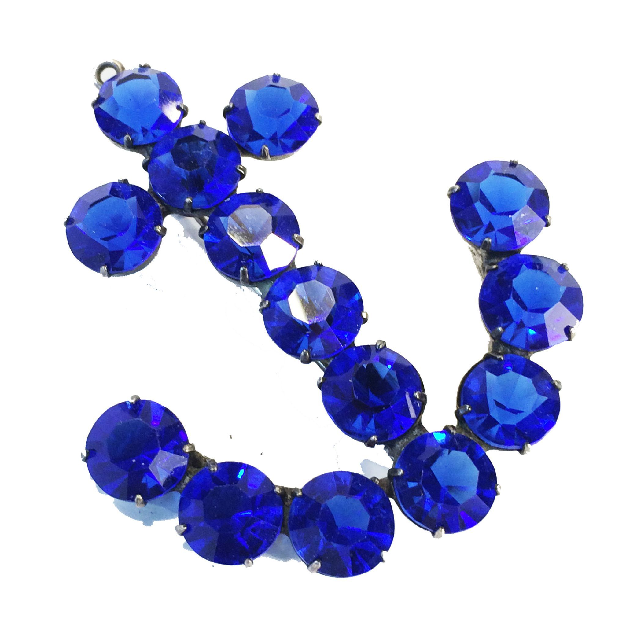 Deep Rich Cobalt Blue Rhinestone Anchor Brooch