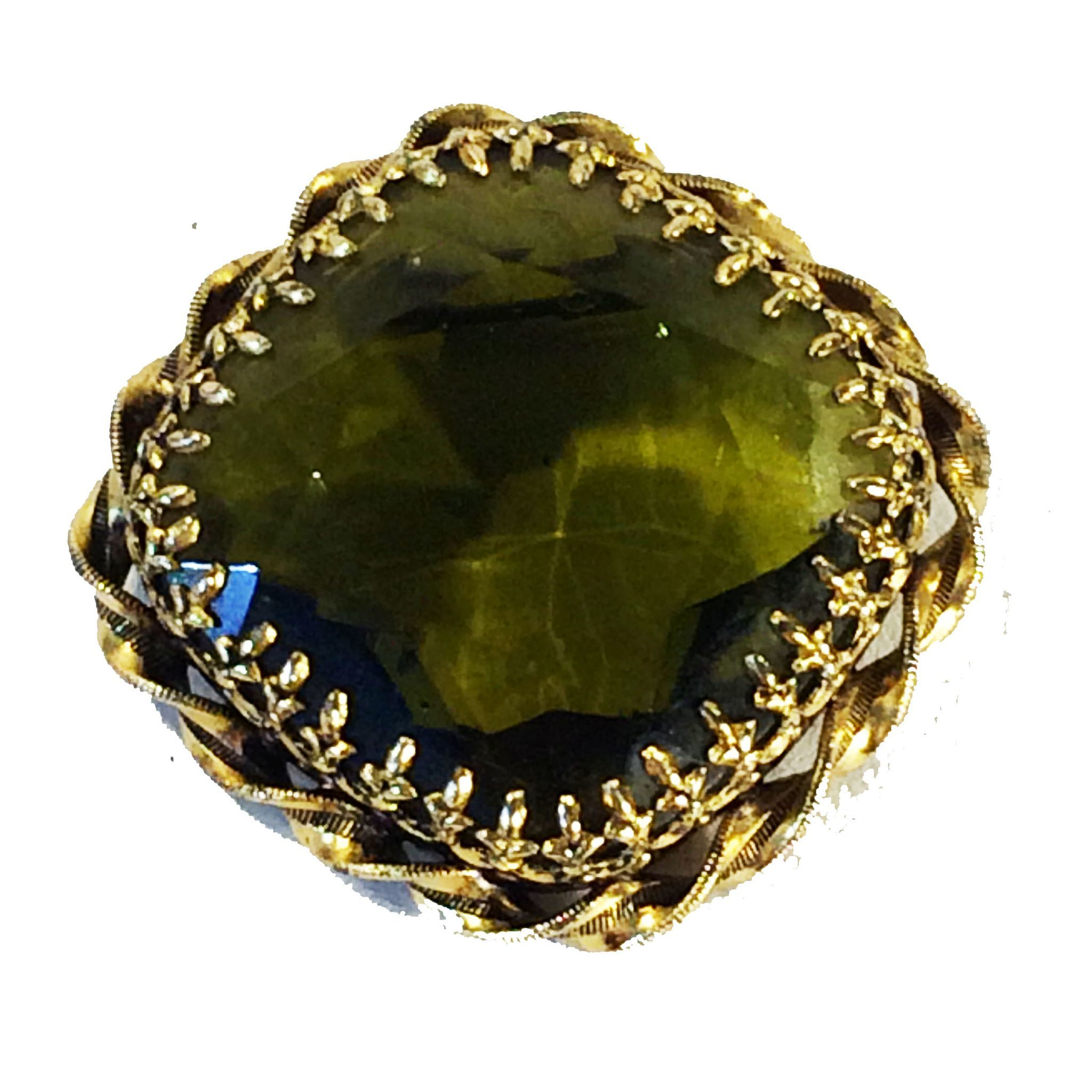 AUSTRIAN Olive Large Faceted Square Rhinestone Dog Tooth Prong Brooch