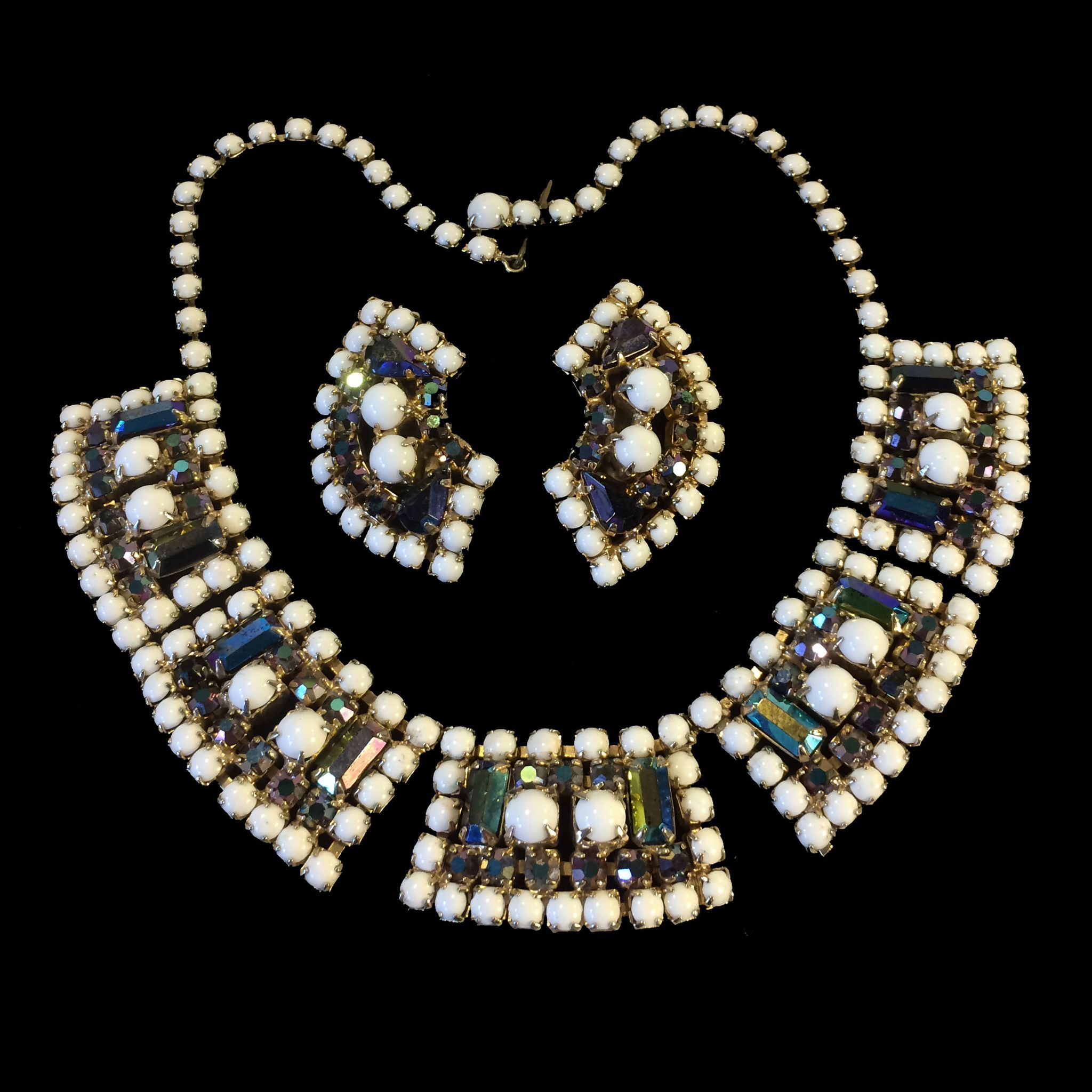 White Milk Glass and Vitriol Aurora Borealis Rhinestone Necklace and Earrings
