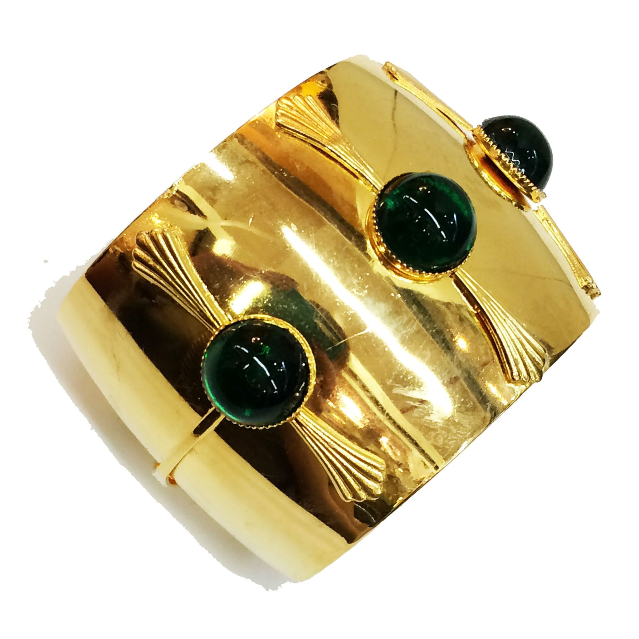 Gold Tone Metal Cuff Bracelet with Stalk Like Detailing and rich Green Cabochons