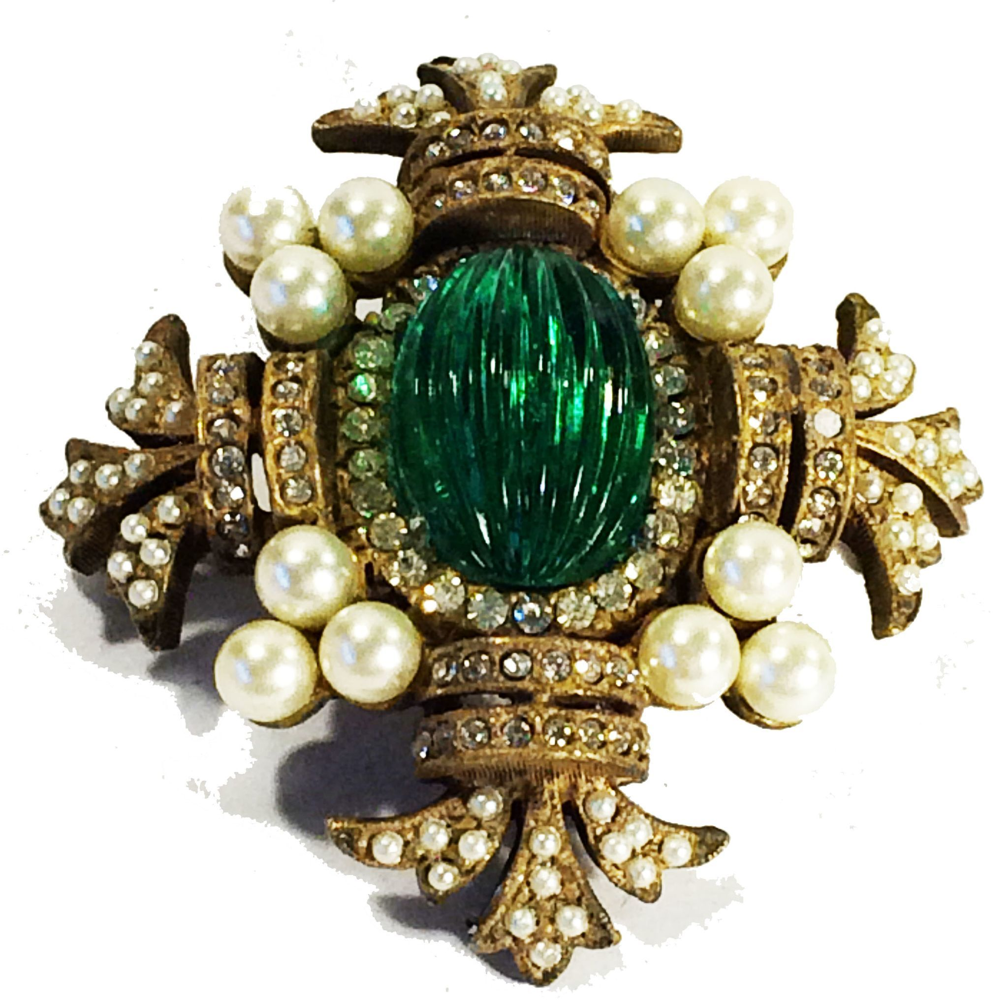 Gorgeous Green Ribbed Cabochon Center Maltese Brooch with Pave and Imitation Pearl Accents