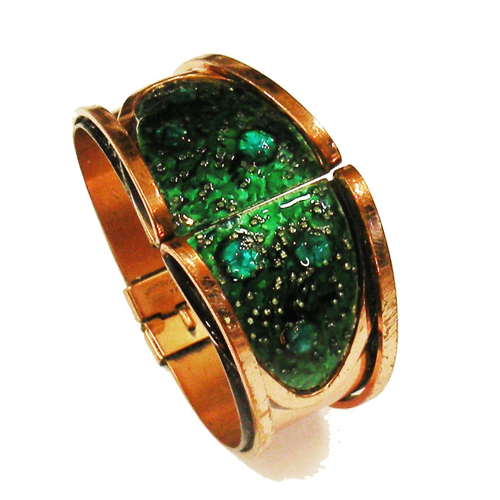 Magical MATISSE RENOIR Teal Green Bubble Enamel Copper Hinged Clamper Cuff Bracelet