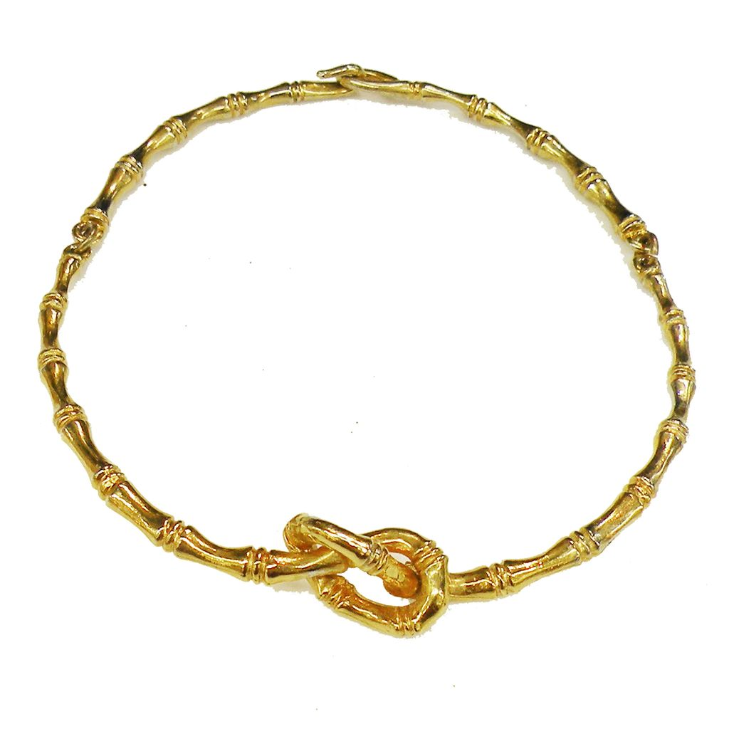 DONALD STANNARD Bamboo Look Textured Gold Tone Metal Pretzel Design Hinged Necklace