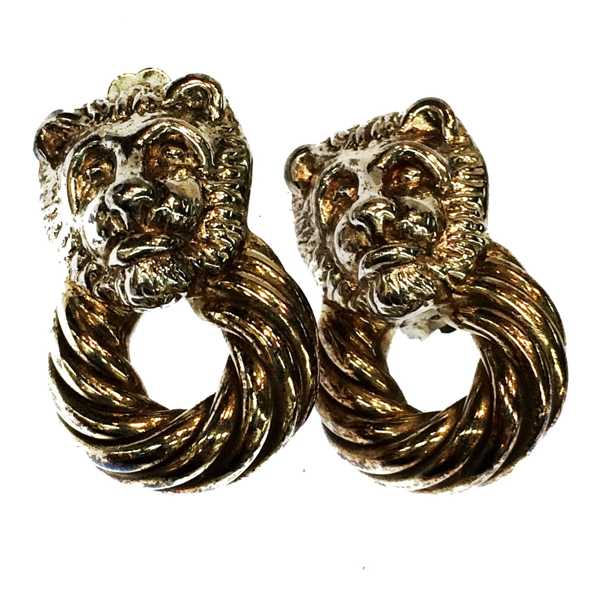 925 Silver Electroform Lion Head Earrings with Braided Drop